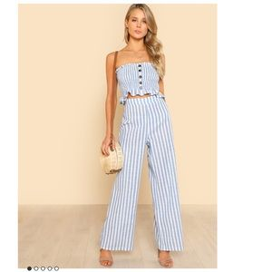 Blue stripes bandeau & pants jumpsuit set dress